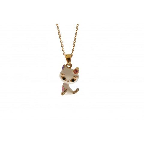 Kitty Enamel and Diamante Necklace