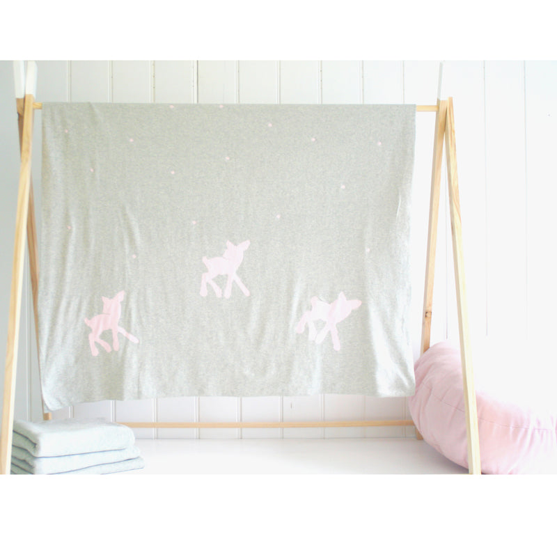 Knit Deer & Dots Cot Blanket