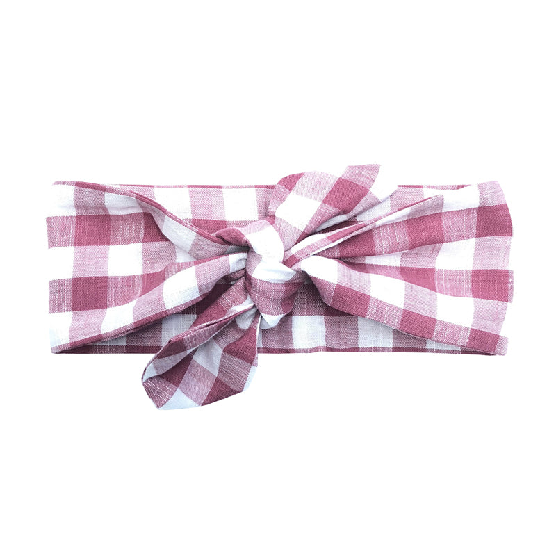 Pink Gingham Top Knot Headband