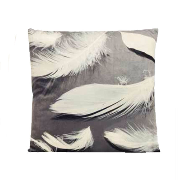 Grey and White Feather Cushion