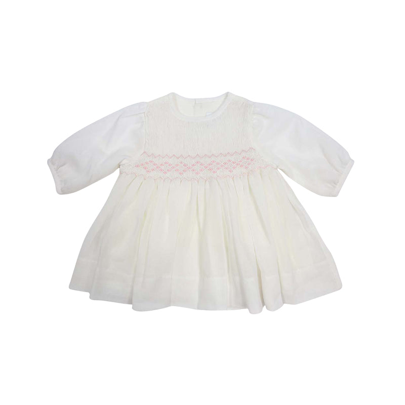 Timeless Hand Smocked & Embroidered Cotton Voile Dress - Ivory
