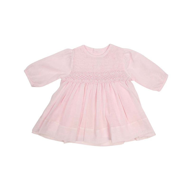Timeless Hand Smocked & Embroidered Cotton Voile Dress - Pink