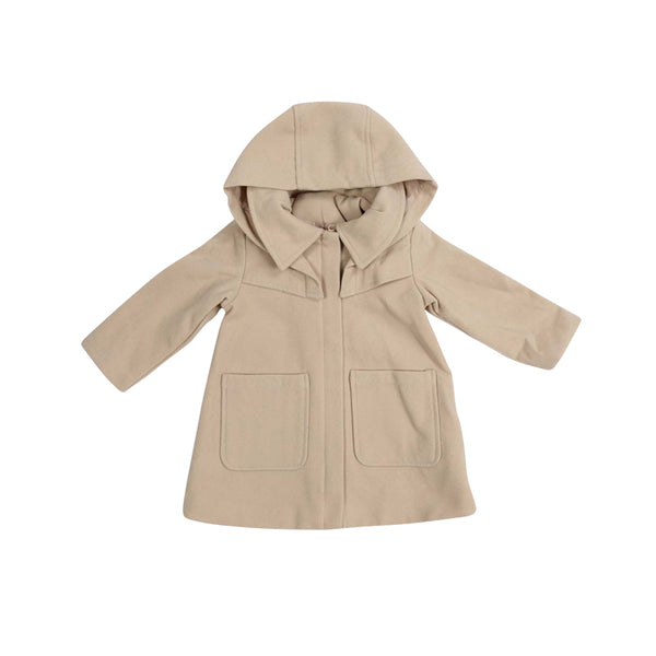 Vamos Vintage Girls Zip Lined Overcoat with Hood - Beige