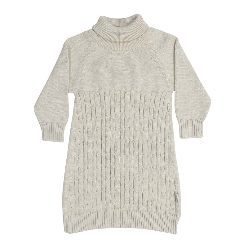Vamos Vintage Cable Knit Dress - Beige