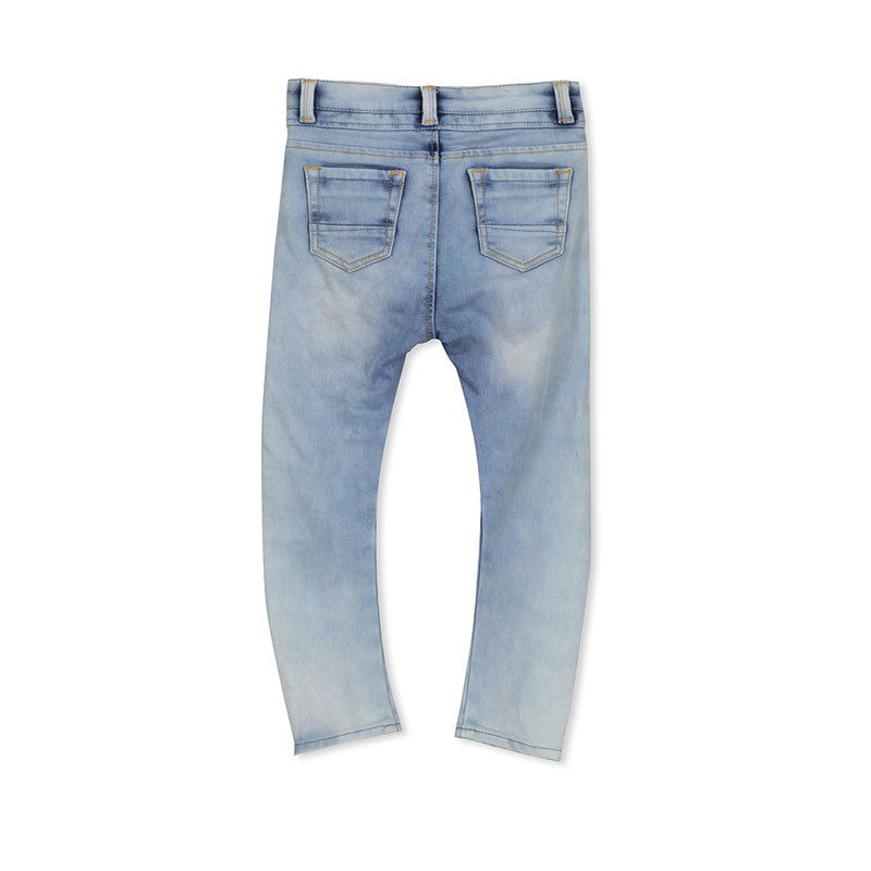 Milky Washed Knit Denim Jean