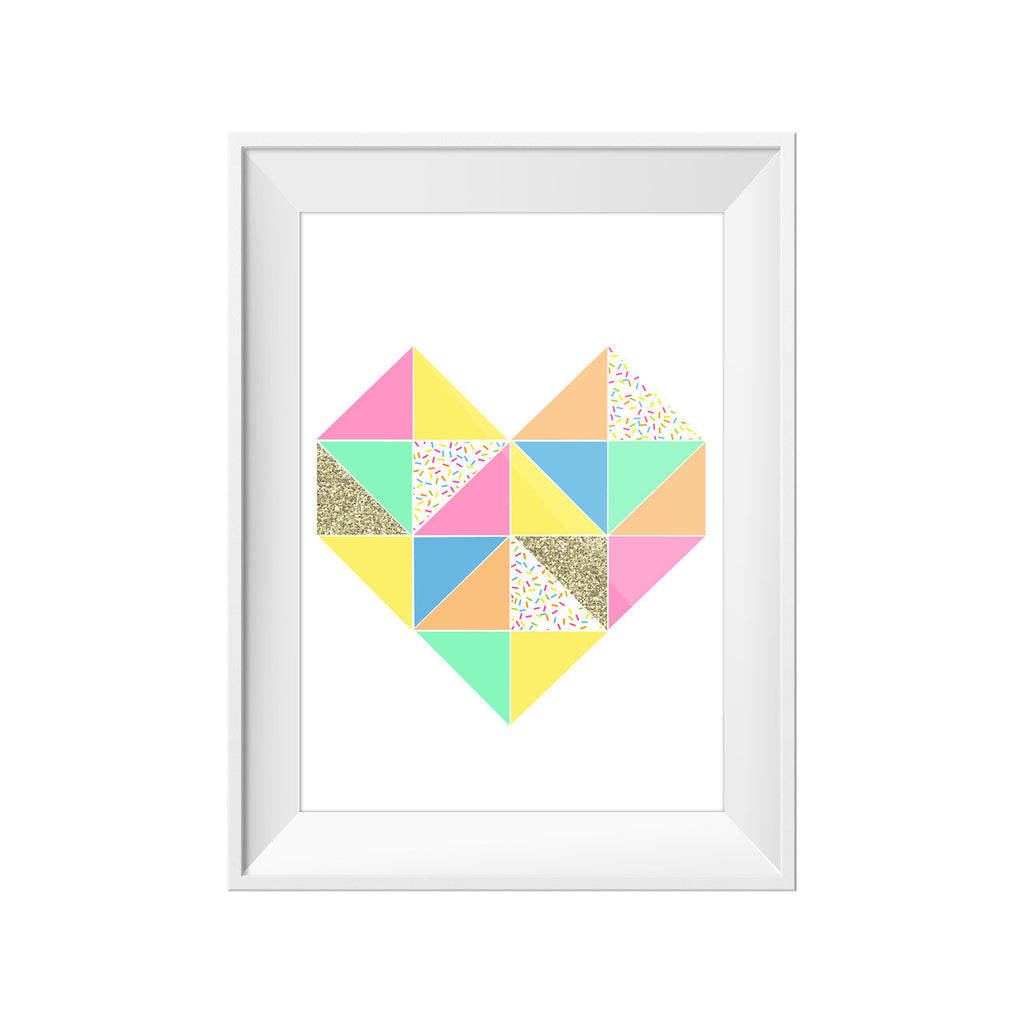Toucan Triangle Heart Print A3