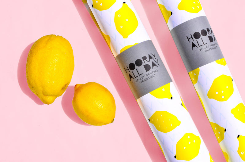 Hooray All Day - Lemon Wrapping Paper / Gift Wrap Sheet