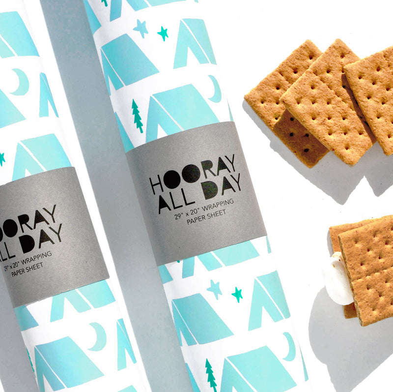 Hooray All Day - Tents Wrapping Paper Sheet