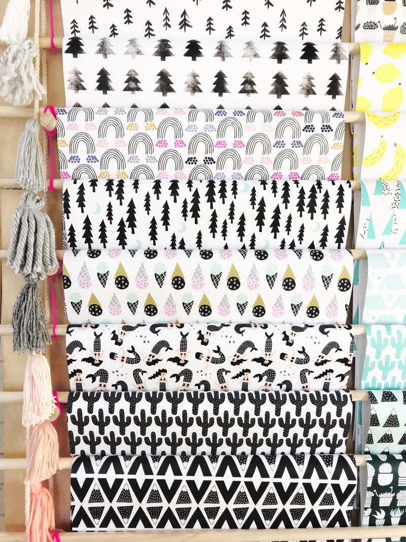 Hooray All Day - Aztec Mountains Wrapping Paper / Gift Wrap Sheet - Midnight