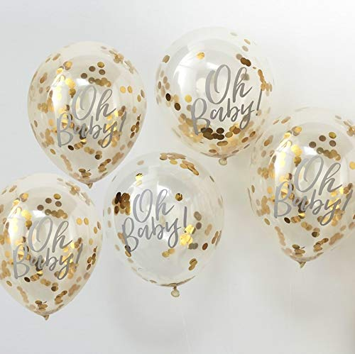 Oh Baby  Printed Gold Confetti kit  Balloons -  Baby Shower Mum to Be