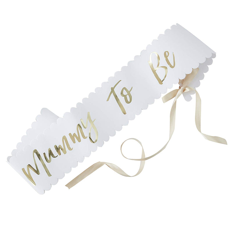 Gold Foiled Mummy To Be Sash - Baby Shower Sash -