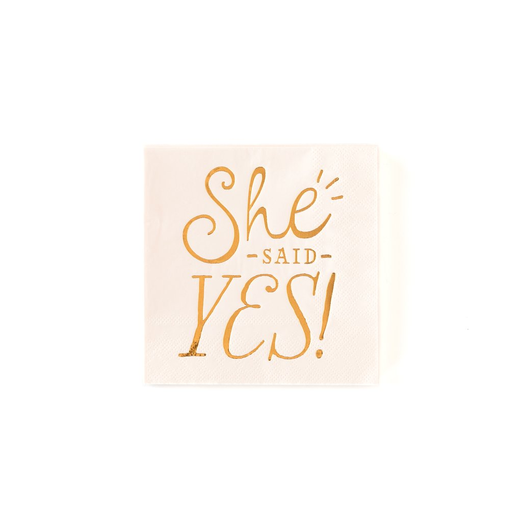 She Said Yes Cocktail Napkin | Modern Bride Party Supplies