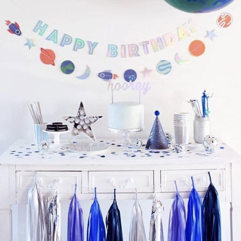 Happy Birthday Banner Space - Crafty Party Design - Space Themed of stars and galaxies