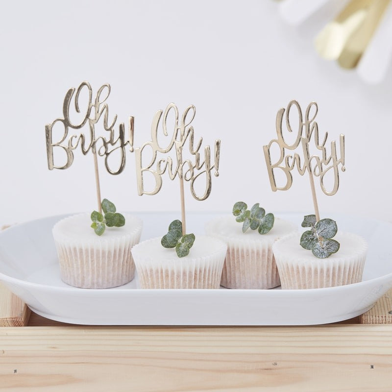 Gold Foiled Oh Baby Paper  Cupcake Topper  - Crafty Party Design