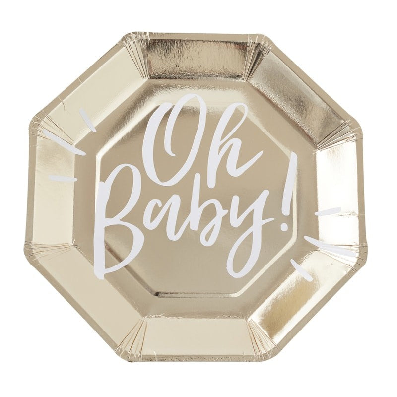 Gold Foiled Oh Baby! Paper  Plate  -  Baby Shower Party Supplies