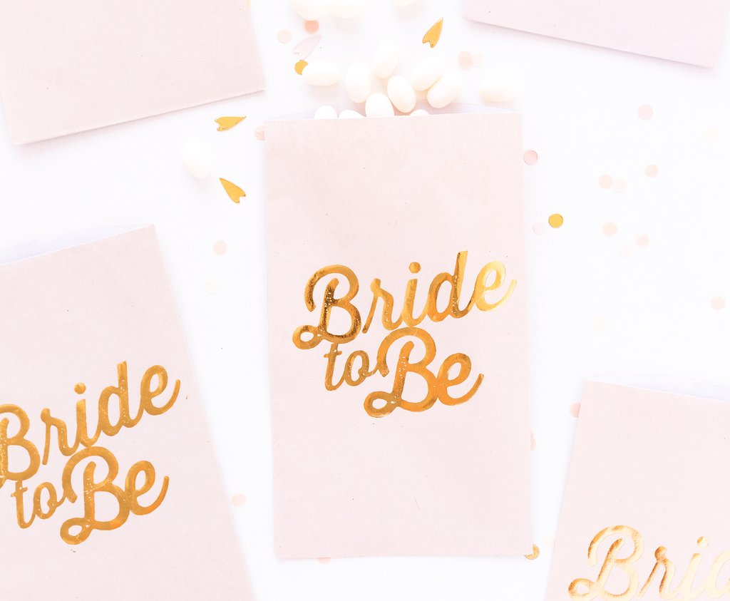Paper Love Bride To Be Treat Bags - FAVOR BOXES- Modern Bride Party Supplies