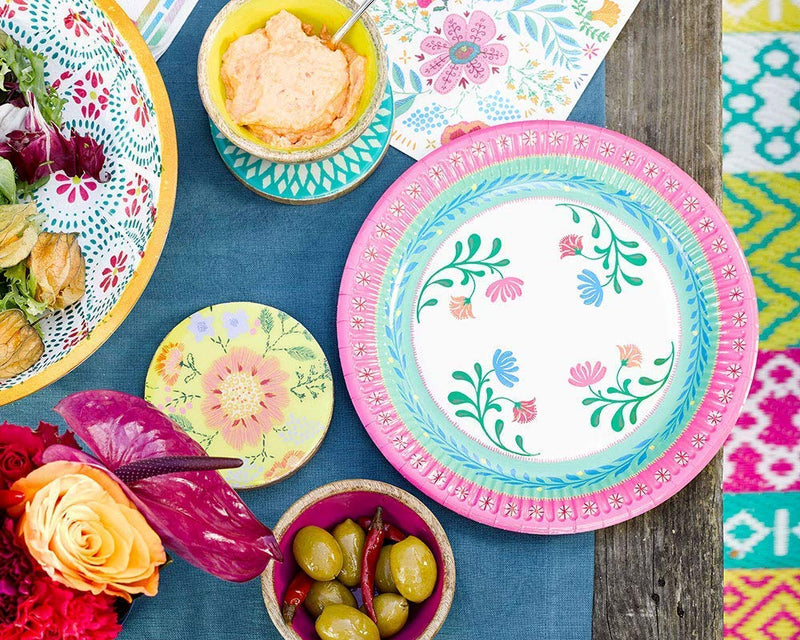 Boho Medium Floral Paper Plates | Modern Party