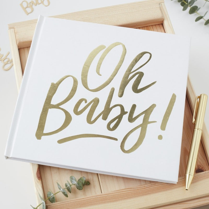 Gold Foiled Oh Baby Guest Book   - Oh Baby Party Supplies - Crafty Party Design
