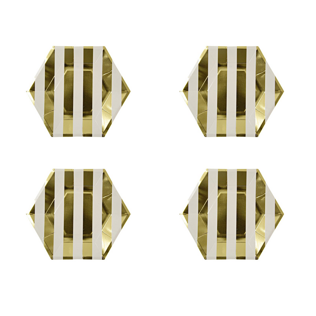 Classic Gold and White Striped Plate | Crafty Party Design | Modern Party Supplies