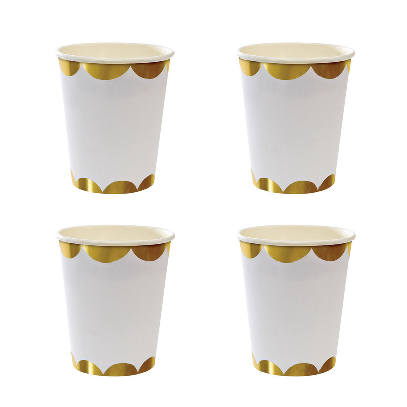 White and Gold Scallop Party Cups | Crafty Party Design | Modern Party Supplies