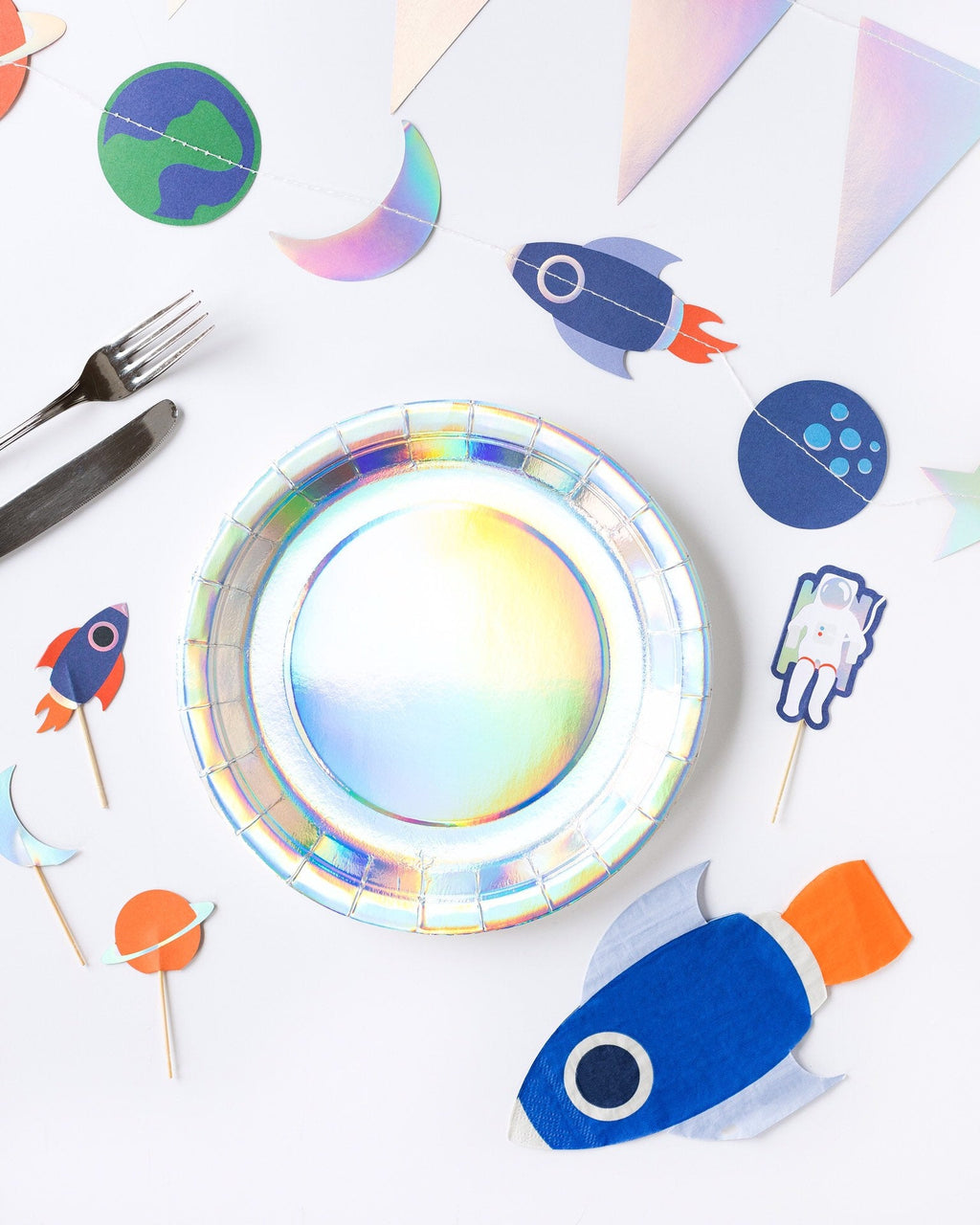 Large Plate  Banner Space -Rocket Holographic Plates- Crafty Party Design