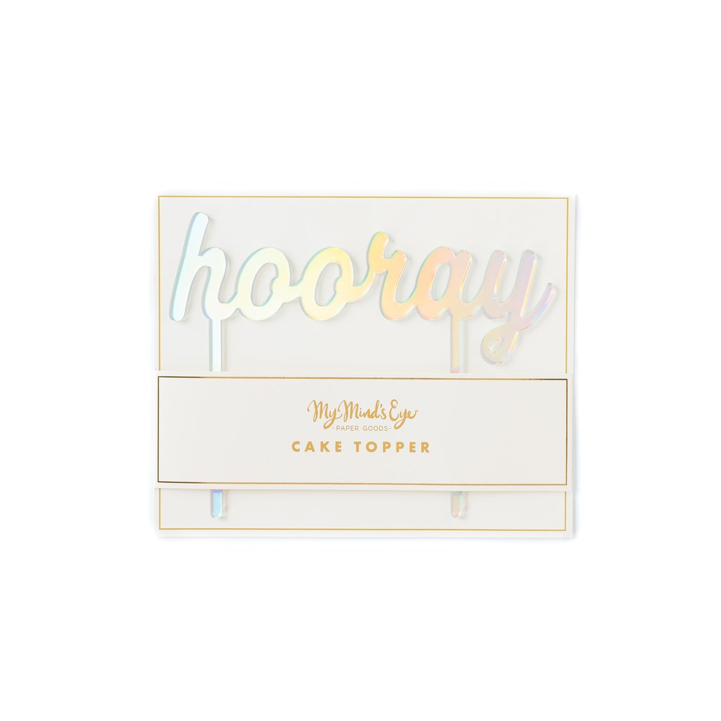 Basic Holographic Hooray Cake Topper - Crafty Party Design