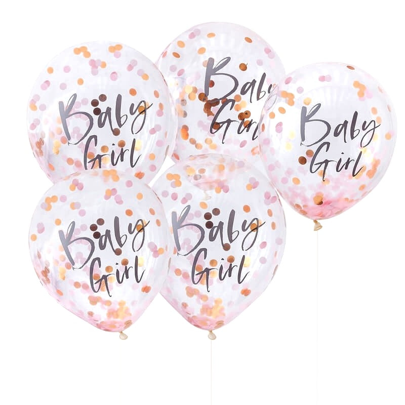 Pink & Rose Gold Baby Girl Confetti Balloons | Crafty Party Design | Rose Gold Balloons