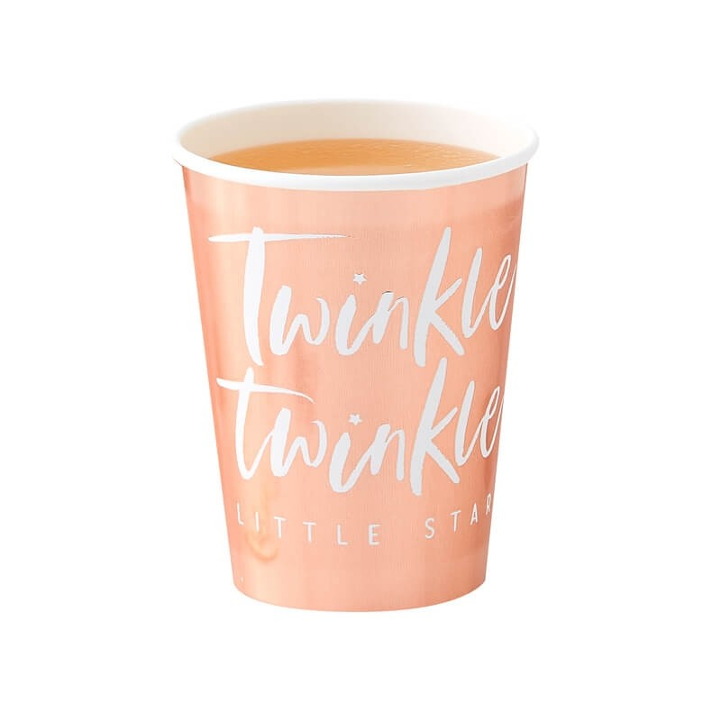 Rose Gold Paper Cups Twinkle, Twinkle, Little Star Party Supplies | Rose Gold Tableware