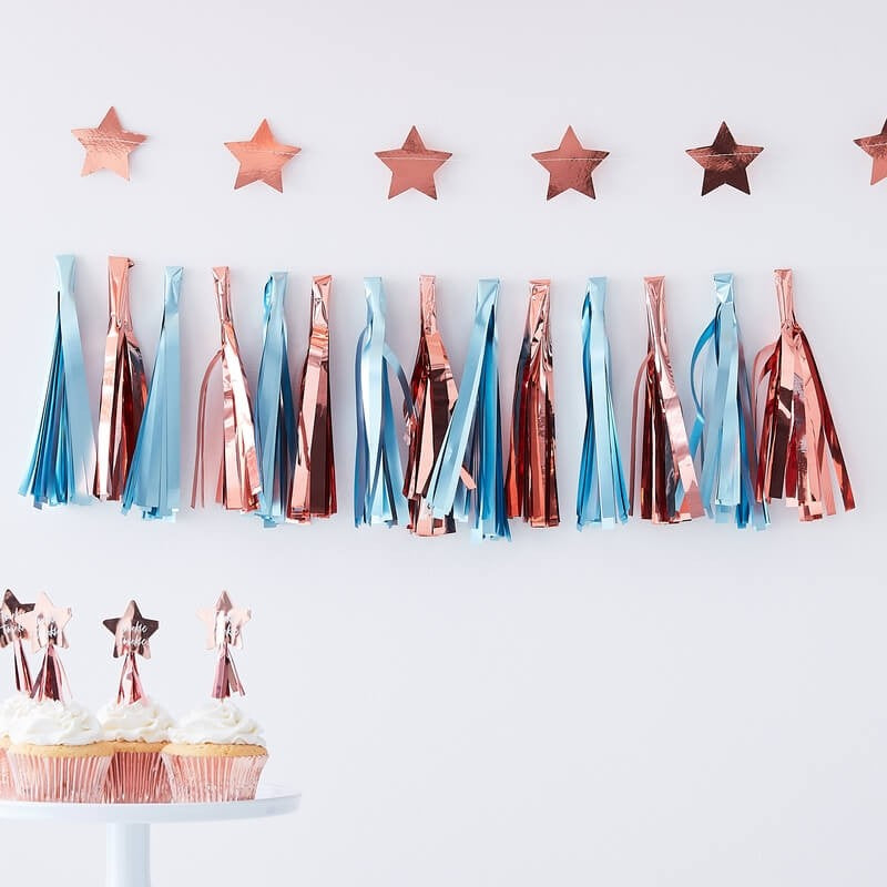 Matte Blue  And Rose Gold Tassel Garland  | Twinkle Twinkle Gender Reveal