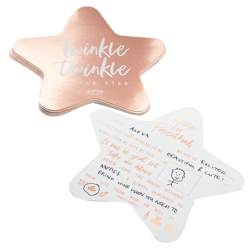Rose Gold Baby  Shower Advice  Cards  - Twinkle, Twinkle, Little Star Party Supplies