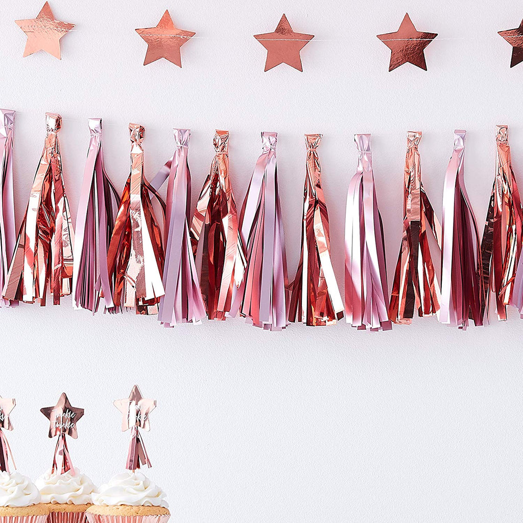 Matte Pink And Rose Gold Tassel Garland  Twinkle Twinkle Gender Reveal