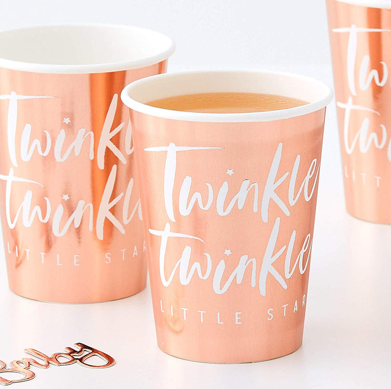 Rose Gold Paper Cups Twinkle, Twinkle, Little Star Party Supplies | Rose Gold Tableware | Crafty Party Design