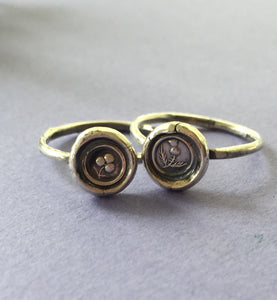 Pair of stacking rings.... Shamrock and Thistle, emblems of Ireland and Scotland. Sterling silver stackable rings.  Antique wax letter seal