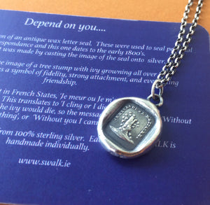 Depend on you!    I cling or i die... je meur ou je m'attache.   Sterling antique wax jewellery...