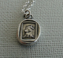 Load image into Gallery viewer, Bull… Valour, Bravery, and generosity. Sterling silver necklace, Antique wax  seal impression, handmade pendant, meaningful, mindful gift