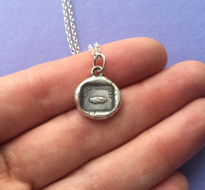 Pour toujours..... Forever.   Sterling silver, antique wax seal impression, handmade, pendant.