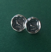 Load image into Gallery viewer, Knowledge earrings. raven wax seal jewelry, sterling silver, amulet studs
