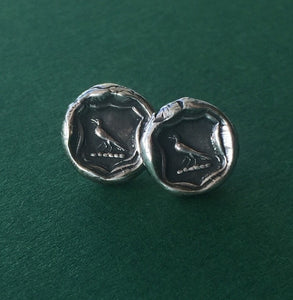 Knowledge earrings. raven wax seal jewelry, sterling silver, amulet studs