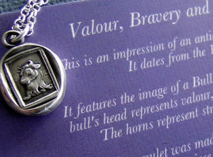 Bull… Valour, Bravery, and generosity. Sterling silver necklace, Antique wax  seal impression, handmade pendant, meaningful, mindful gift