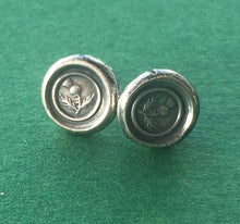 Load image into Gallery viewer, Sterling silver, Thistle, wax seal stud earrings. Scottish emblem, antique seal impression.