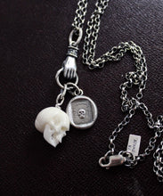 Load image into Gallery viewer, Skull, memento mori, sterling silver necklace, antique wax letter seal, death, life is fleeting, bone, charm holder