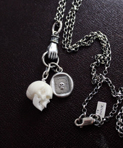 Skull, memento mori, sterling silver necklace, antique wax letter seal, death, life is fleeting, bone, charm holder