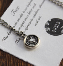 Load image into Gallery viewer, Fox necklace, sterling silver necklace, antique wax seal necklace, fox charm. Handmade necklace