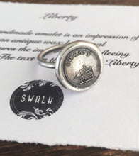 Load image into Gallery viewer, Liberty Ring.  Antique wax letter seal ring, sterling silver ring, bird ring birdcage ring. Freedom ring, liberty ring