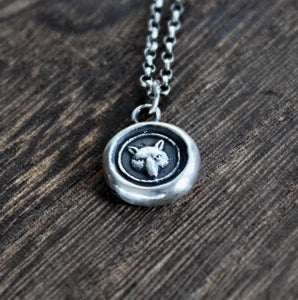 Fox necklace, sterling silver necklace, antique wax seal necklace, fox charm. Handmade necklace