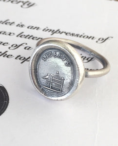 Liberty Ring.  Antique wax letter seal ring, sterling silver ring, bird ring birdcage ring. Freedom ring, liberty ring