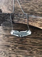 Load image into Gallery viewer, Latin motto necklace. in perpetuum... forever.  Sterling silver handmade necklace.