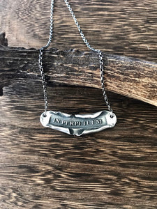 Latin motto necklace. in perpetuum... forever.  Sterling silver handmade necklace.