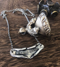 Load image into Gallery viewer, inspiring Latin necklace  'Carpe Diem' 'Seize the day'. Handmade scroll necklace.  positive encouragement.