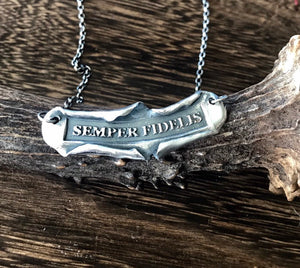 Semper fidelis, parchment necklace.  Sterling silver latin quote. 'always faithful' handmade made necklace